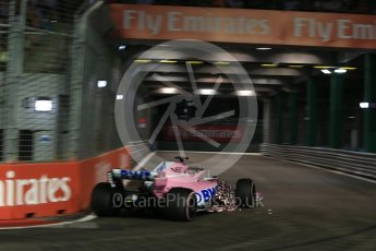 World © Octane Photographic Ltd. Formula 1 – Singapore GP - Qualifying. Racing Point Force India VJM11 - Sergio Perez. Marina Bay Street Circuit, Singapore. Saturday 15th September 2018.