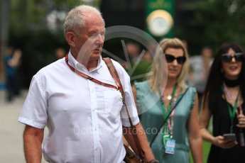 World © Octane Photographic Ltd. Formula 1 - Singapore GP - Paddock.Helmut Marko - advisor to the Red Bull GmbH Formula One Teams and head of Red Bull's driver development program. Marina Bay Street Circuit, Singapore. Sunday 16th September 2018.