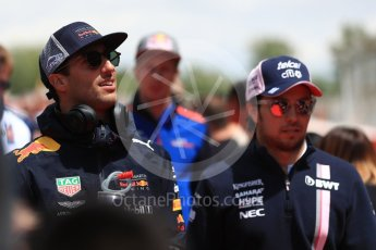 World © Octane Photographic Ltd. Formula 1 – Spanish GP - Drivers' Parade. Aston Martin Red Bull Racing TAG Heuer RB14 – Daniel Ricciardo and Sahara Force India VJM11 - Sergio Perez. Circuit de Barcelona-Catalunya, Spain. Sunday 13th May 2018.