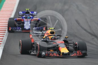 World © Octane Photographic Ltd. Formula 1 – Spanish GP - Saturday Qualifying. Aston Martin Red Bull Racing TAG Heuer RB14 – Max Verstappen and Scuderia Toro Rosso STR13 – Pierre Gasly. Circuit de Barcelona-Catalunya, Spain. Saturday 12th May 2018.
