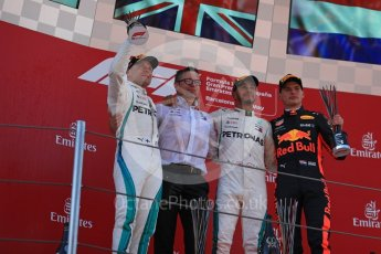 World © Octane Photographic Ltd. Formula 1 – Spanish GP - Sunday Podium. Mercedes AMG Petronas Motorsport AMG F1 W09 EQ Power+ - Lewis Hamilton (1st) Valtteri Bottas (2nd) and Aston Martin Red Bull Racing TAG Heuer RB14 – Max Verstappen (3rd) with Peter Bonnington – Race Engineer. Circuit de Barcelona-Catalunya, Spain. Sunday 13th May 2018.