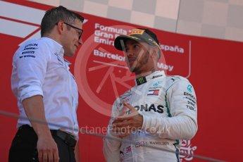 World © Octane Photographic Ltd. Formula 1 – Spanish GP - Sunday Podium. Mercedes AMG Petronas Motorsport AMG F1 W09 EQ Power+ - Lewis Hamilton (1st) with Peter Bonnington – Race Engineer. Circuit de Barcelona-Catalunya, Spain. Sunday 13th May 2018.
