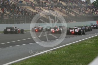 World © Octane Photographic Ltd. FIA Formula 2 (F2) – Spanish GP - Race1. The pack head into turn 1. Circuit de Barcelona-Catalunya, Spain. Saturday 12th May 2018.