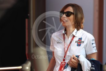 World © Octane Photographic Ltd. Formula 1 - Spanish GP - Friday Paddock. Claire Williams - Deputy Team Principal of Williams Martini Racing. Circuit de Barcelona-Catalunya, Spain. Friday 11th May 2018.