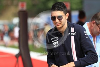 World © Octane Photographic Ltd. Formula 1 – Spanish GP - Saturday - Paddock. Sahara Force India VJM11 - Esteban Ocon. Circuit de Barcelona-Catalunya, Spain. Saturday 12th May 2018.
