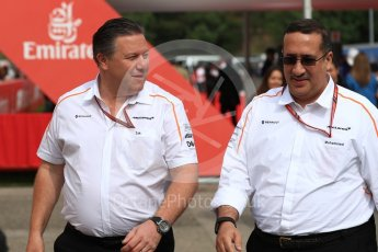 World © Octane Photographic Ltd. Formula 1 - Spanish GP - Saturday Paddock. Zak Brown - Executive Director of McLaren Technology Group and Sheikh Mohammed bin Essa Al Khalifa, CEO of the Bahrain Economic Development Board. Circuit de Barcelona-Catalunya, Spain. Saturday 12th May 2018.
