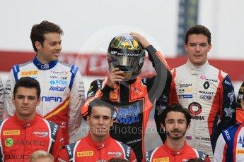 World © Octane Photographic Ltd. GP3 – Spanish GP – Class of 2018. Campos Racing - Diego Menchaca; MP Motorsport - Dorian Boccolacci (with helmet...)and Will Palmer. Circuit de Barcelona-Catalunya, Spain. Thursday 10th May 2018.