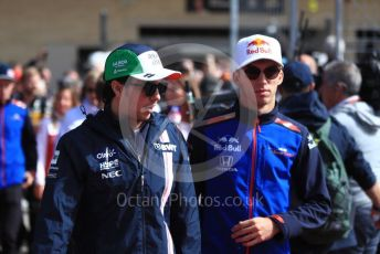 World © Octane Photographic Ltd. Formula 1 – United States GP - Drivers Parade. Racing Point Force India VJM11 - Sergio Perez and Scuderia Toro Rosso STR13 – Pierre Gasly. . Circuit of the Americas (COTA), USA. Sunday 21st October 2018.