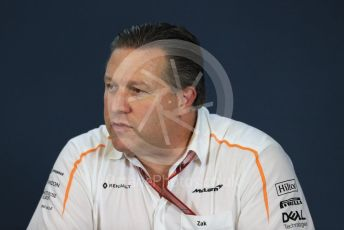 World © Octane Photographic Ltd. Formula 1 - United States GP - Friday FIA Team Press Conference. Zak Brown - Executive Director of McLaren Technology Group. Circuit of the Americas (COTA), USA. Friday 18th October 2018