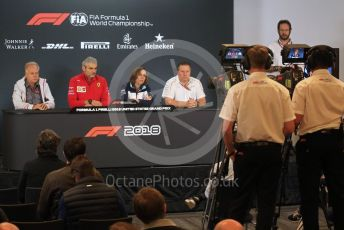 World © Octane Photographic Ltd. Formula 1 - United States GP - Friday FIA Team. Maurizio Arrivabene – Managing Director and Team Principal of Scuderia Ferrari, Zak Brown - Executive Director of McLaren Technology Group, Gene Haas  - Founder and Chairman of Haas F1 Team and Claire Williams - Deputy Team Principal of Williams Martini Racing.. Circuit of the Americas (COTA), USA. Friday 18th October 2018.