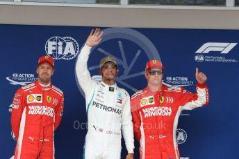 World © Octane Photographic Ltd. Formula 1 – United States GP – Qualifying. Mercedes AMG Petronas Motorsport AMG F1 W09 EQ Power+ - Lewis Hamilton, Scuderia Ferrari SF71-H – Kimi Raikkonen and Sebastian Vettel. Circuit of the Americas (COTA), USA. Saturday 20th October 2018.