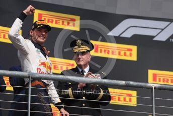 World © Octane Photographic Ltd. Formula 1 – United States GP - Race Podium. Aston Martin Red Bull Racing TAG Heuer RB14 – Max Verstappen. Circuit of the Americas (COTA), USA. Sunday 21st October 2018.