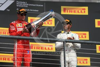 World © Octane Photographic Ltd. Formula 1 – United States GP - Podium. Scuderia Ferrari SF71-H – Kimi Raikkonen and Mercedes AMG Petronas Motorsport AMG F1 W09 EQ Power+ - Lewis Hamilton. Circuit of the Americas (COTA), USA. Sunday 21st October 2018.