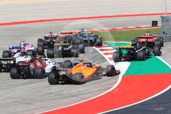 World © Octane Photographic Ltd. Formula 1 – United States GP - Race. Scuderia Ferrari SF71-H – Sebastian Vettel runs wide at turn 1. Circuit of the Americas (COTA), USA. Sunday 21st October 2018.