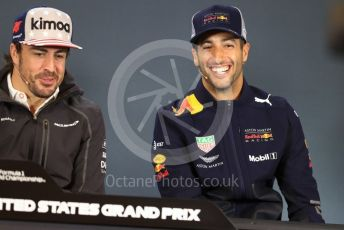 World © Octane Photographic Ltd. Formula 1 – United States GP - FIA Drivers' Press Conference. Aston Martin Red Bull Racing TAG Heuer – Daniel Ricciardo and McLaren – Fernando Alonso. Circuit of the Americas (COTA), USA. Thursday 18th October 2018.