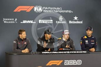 World © Octane Photographic Ltd. Formula 1 – United States GP - FIA Drivers' Press Conference. McLaren – Fernando Alonso, Haas F1 Team – Romain Grosjean, Mercedes AMG Petronas Motorsport - Lewis Hamilton and Aston Martin Red Bull Racing TAG Heuer RB14 – Daniel Ricciardo. Circuit of the Americas (COTA), USA. Thursday 18th October 2018.