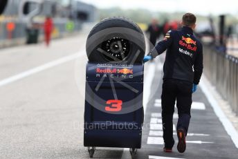 World © Octane Photographic Ltd. Formula 1 – United States GP - Pit Lane. Aston Martin Red Bull Racing TAG Heuer RB14 tyres being wheeled down the pit lane. Circuit of the Americas (COTA), USA. Thursday 18th October 2018.