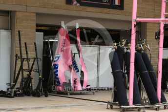 World © Octane Photographic Ltd. Formula 1 – United States GP – Pit Lane Setup. Racing Point Force India. Circuit of the Americas (COTA), USA. Wednesday 17th October 2018.