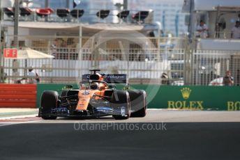 World © Octane Photographic Ltd. Formula 1 – Abu Dhabi GP - Practice 1. McLaren MCL34 – Carlos Sainz. Yas Marina Circuit, Abu Dhabi, UAE. Friday 29th November 2019.