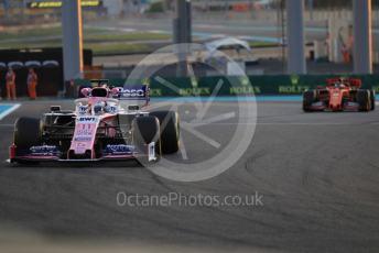 World © Octane Photographic Ltd. Formula 1 – Abu Dhabi GP - Practice 2. SportPesa Racing Point RP19 - Sergio Perez and Scuderia Ferrari SF90 – Sebastian Vettel. Yas Marina Circuit, Abu Dhabi, UAE. Friday 29th November 2019.