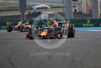 World © Octane Photographic Ltd. Formula 1 – Abu Dhabi GP - Practice 2. Aston Martin Red Bull Racing RB15 – Alexander Albon and McLaren MCL34 – Lando Norris. Yas Marina Circuit, Abu Dhabi, UAE. Friday 29th November 2019.