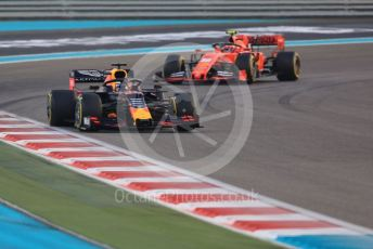 World © Octane Photographic Ltd. Formula 1 – Abu Dhabi GP - Race. Aston Martin Red Bull Racing RB15 – Max Verstappen and Scuderia Ferrari SF90 – Charles Leclerc. Yas Marina Circuit, Abu Dhabi, UAE. Sunday 1st December 2019.
