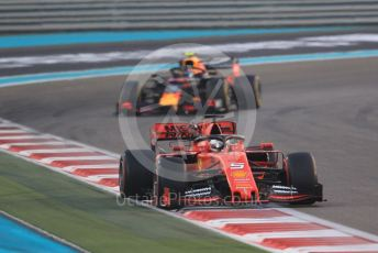 World © Octane Photographic Ltd. Formula 1 – Abu Dhabi GP - Race. Scuderia Ferrari SF90 – Sebastian Vettel and Aston Martin Red Bull Racing RB15 – Alexander Albon. Yas Marina Circuit, Abu Dhabi, UAE. Sunday 1st December 2019.