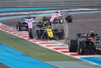 World © Octane Photographic Ltd. Formula 1 – Abu Dhabi GP - Race. Haas F1 Team VF19 – Kevin Magnussen, Renault Sport F1 Team RS19 – Nico Hulkenberg and SportPesa Racing Point RP19 - Sergio Perez and Lance Stroll. Yas Marina Circuit, Abu Dhabi, UAE. Sunday 1st December 2019.