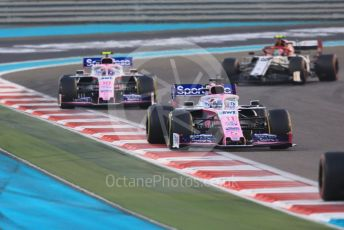 World © Octane Photographic Ltd. Formula 1 – Abu Dhabi GP - Race. SportPesa Racing Point RP19 - Sergio Perez and Lance Stroll ahead of Alfa Romeo Racing C38 – Antonio Giovinazzi. Yas Marina Circuit, Abu Dhabi, UAE. Sunday 1st December 2019.
