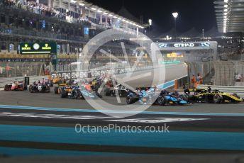 World © Octane Photographic Ltd. FIA Formula 2 (F2) – Abu Dhabi GP - Race 1. Virtuosi Racing - Guanyu Zhou and DAMS - Sergio Sette Camara. Yas Marina Circuit, Abu Dhabi, UAE. Saturday 30th November 2019.