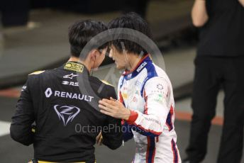 World © Octane Photographic Ltd. FIA Formula 2 (F2) – Abu Dhabi GP - Race 1. Virtuosi Racing - Guanyu Zhou and Carlin - Nobuharu Matsushita. Yas Marina Circuit, Abu Dhabi, UAE. Saturday 30th November 2019.