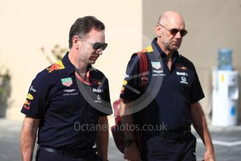 World © Octane Photographic Ltd. Formula 1 - Abu Dhabi GP - Paddock. Christian Horner - Team Principal and Adrian Newey - Chief Technical Officer of Red Bull Racing. Yas Marina Circuit, Abu Dhabi, UAE. Friday 29th November 2019.