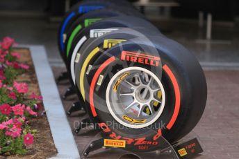 World © Octane Photographic Ltd. Formula 1 - Abu Dhabi GP - Paddock. Pirelli tyres. Yas Marina Circuit, Abu Dhabi, UAE. Saturday 30th November 2019.