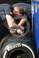World © Octane Photographic Ltd. Formula 1 – Abu Dhabi Pirelli Tyre Test. Pirelli technicians inspect the tyres. Yas Marina Circuit, Abu Dhabi, UAE. Tuesday 3rd December 2019.