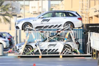 World © Octane Photographic Ltd. Formula 1 – Abu Dhabi Pirelli Tyre Test. Safety Cars in packing crates. Yas Marina Circuit, Abu Dhabi, UAE. Tuesday 3rd December 2019.