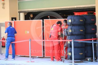 World © Octane Photographic Ltd. Formula 1 – Abu Dhabi Pirelli Tyre Test. Scuderia Ferrari SF90 garage. Yas Marina Circuit, Abu Dhabi, UAE. Tuesday 3rd December 2019.