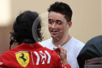 World © Octane Photographic Ltd. Formula 1 – Abu Dhabi Pirelli Tyre Test. Scuderia Ferrari – Charles Leclerc shares a laugh with Laurent Mekies – Sporting Director of Scuderia Ferrari. Yas Marina Circuit, Abu Dhabi, UAE. Tuesday 3rd December 2019.