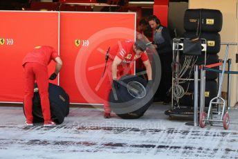 World © Octane Photographic Ltd. Formula 1 – Abu Dhabi Pirelli Tyre Test. Scuderia Ferrari mechanic put tyres into tyre warmers. Yas Marina Circuit, Abu Dhabi, UAE. Wednesday 4th December 2019.