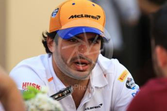 World © Octane Photographic Ltd. Formula 1 – Abu Dhabi GP - Paddock. McLaren MCL34 – Carlos Sainz. Yas Marina Circuit, Abu Dhabi, UAE. Thursday 28th November 2019.