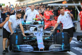 World © Octane Photographic Ltd. Formula 1 – Abu Dhabi GP - Scrutineering. Mercedes AMG Petronas Motorsport AMG F1 W10 EQ Power+ - Valtteri Bottas. Yas Marina Circuit, Abu Dhabi, UAE. Thursday 28th November 2019.