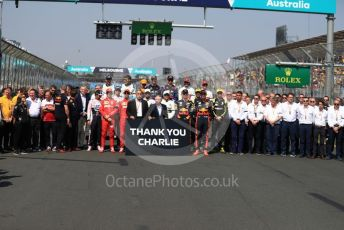 """World © Octane Photographic Ltd. Formula 1 – Australian GP Class of 2019 drivers, Team Bosses, Liberty Media and FIA with """"Thank You Charlie"""" sign for Charlie Whiting . Rich Energy Haas F1 Team VF19 – Romain Grosjean. Melbourne, Australia. Sunday 17th March 2019."""