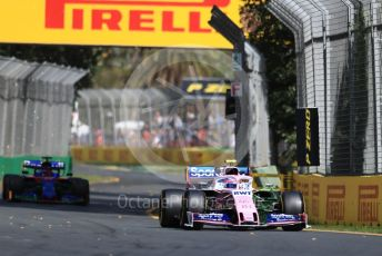 World © Octane Photographic Ltd. Formula 1 – Australian GP Practice 1. SportPesa Racing Point RP19 – Lance Stroll and Scuderia Toro Rosso STR14 – Daniil Kvyat. Friday 15th Melbourne, Australia. Friday 15th March 2019.