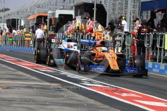 World © Octane Photographic Ltd. Formula 1 – Australian GP Practice 3. McLaren MCL34 – Lando Norris and ROKiT Williams Racing – Robert Kubica. Saturday 16th Melbourne, Australia. Saturday 16th March 2019.