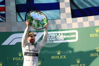 World © Octane Photographic Ltd. Formula 1 – Australian GP Podium. Mercedes AMG Petronas Motorsport AMG F1 W10 EQ Power+ - Valtteri Bottas. Melbourne, Australia. Sunday 17th March 2019.