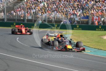 World © Octane Photographic Ltd. Formula 1 – Australian GP Race. Aston Martin Red Bull Racing RB15 – Max Verstappen and Scuderia Ferrari SF90 – Charles Leclerc. Melbourne, Australia. Sunday 17th March 2019.