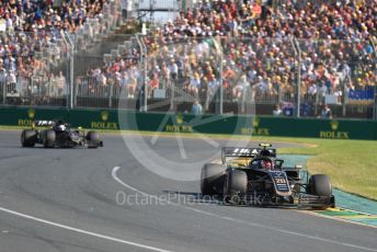 World © Octane Photographic Ltd. Formula 1 – Australian GP Race. Rich Energy Haas F1 Team VF19 – Kevin Magnussen and Romain Grosjean. Melbourne, Australia. Sunday 17th March 2019.