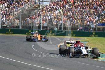World © Octane Photographic Ltd. Formula 1 – Australian GP Race. Alfa Romeo Racing C38 – Kimi Raikkonen and McLaren MCL34 – Lando Norris. Melbourne, Australia. Sunday 17th March 2019.