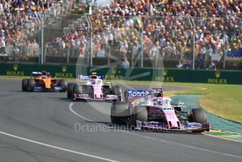 World © Octane Photographic Ltd. Formula 1 – Australian GP Race. SportPesa Racing Point RP19 - Sergio Perez and Lance Stroll and McLaren MCL34 – Carlos Sainz. Melbourne, Australia. Sunday 17th March 2019.