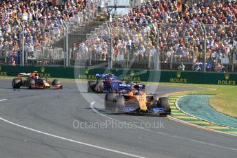 World © Octane Photographic Ltd. Formula 1 – Australian GP Race. McLaren MCL34 – Carlos Sainz, Scuderia Toro Rosso STR14 – Daniil Kvyat and Aston Martin Red Bull Racing RB15 – Pierre Gasly. Melbourne, Australia. Sunday 17th March 2019.