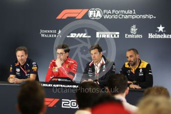 World © Octane Photographic Ltd. Formula 1 - Australian GP - Friday FIA Team. Cyril Abiteboul - Managing Director of Renault Sport Racing Formula 1 Team, Mattia Binotto – Team Principal of Scuderia Ferrari, Christian Horner - Team Principal of Red Bull Racing and Toto Wolff - Executive Director & Head of Mercedes - Benz Motorsport. Albert Park, Melbourne, Australia. Friday 15th March 2019.